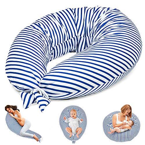 Stillkissen Schwangerschaftskissen zum Schlafen Seitenschläferkissen - Lagerungskissen für Baby XXL Pregnancy Pillow Oeko-Tex (Weiß und Dunkelblau Gestreift, 165 x 70 cm)