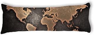 AILOVYO World Map Machine Washable Silky Shiny Satin Decorative Body Pillow Case Cover, 20-Inch x 54-Inch