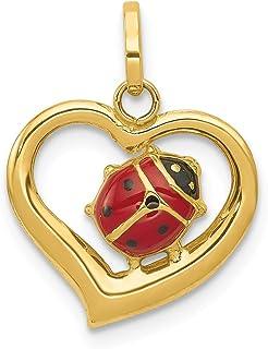 Big Sur Elegance 14k Yellow Gold Enameled Ladybug in Heart Charm (14 x 18 mm)