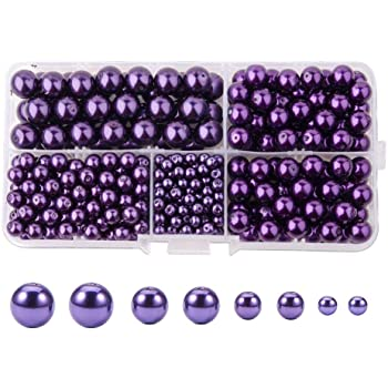Purple Pearl Glass Pearl Beads 4mm 6mm 8mm 10mm DIY Jewellery Weddings Crafts