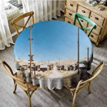 ScottDecor Western Jacquard Tablecloth Bodie State Historic Park Ghost Town in California United States Arid Country Pattern Round Tablecloth Light Blue Beige Diameter 54