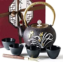 KIYOSHI Luxury 8PC Japanese Tea Set - Large Cast Iron Tea Kettle 40,57Oz (1,2L) with 4 Tea Cups, 1 Trivet and 1 Wood Lid Holder. Stovetop Safe. Ceremonial Matcha Accessories and Iron Anniversary Gifts