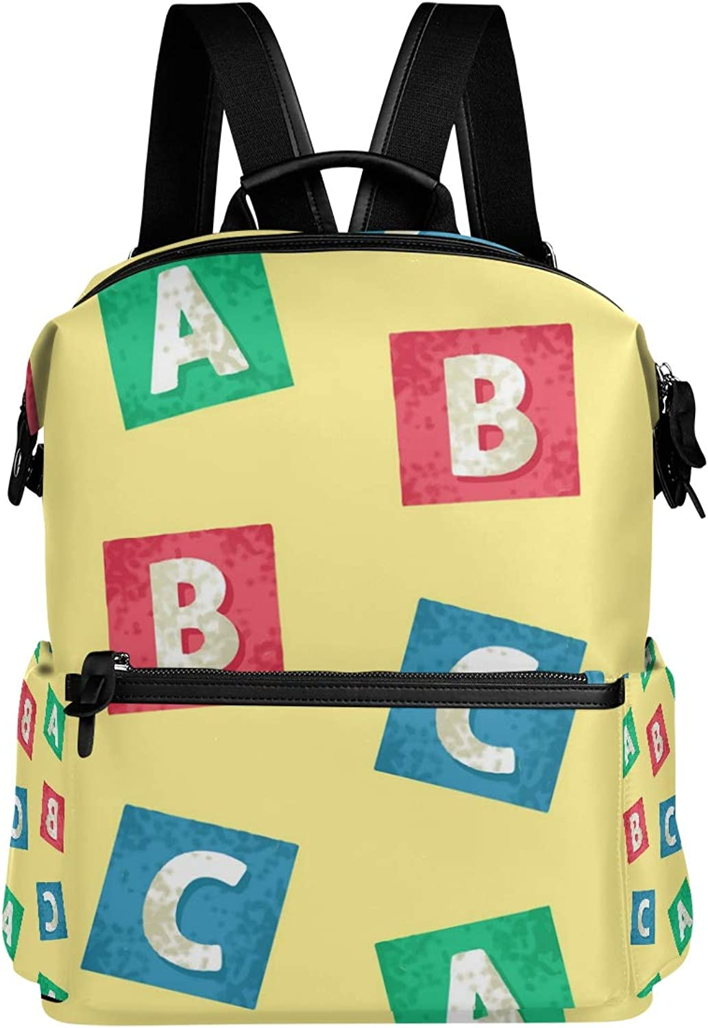 MONTOJ Cute Hand Painted Letters Pattern Leather Travel Bag Campus Backpack