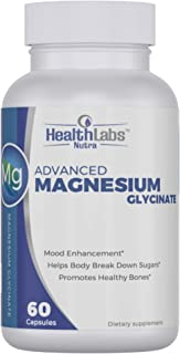 Health Labs Nutra Magnesium Glycinate Supplement (425mg)Non-GMO, Gluten Free, Vegan |Natural Mood Enhancer, Helps Relieve Stress | Made in The USA | 60 Capsules