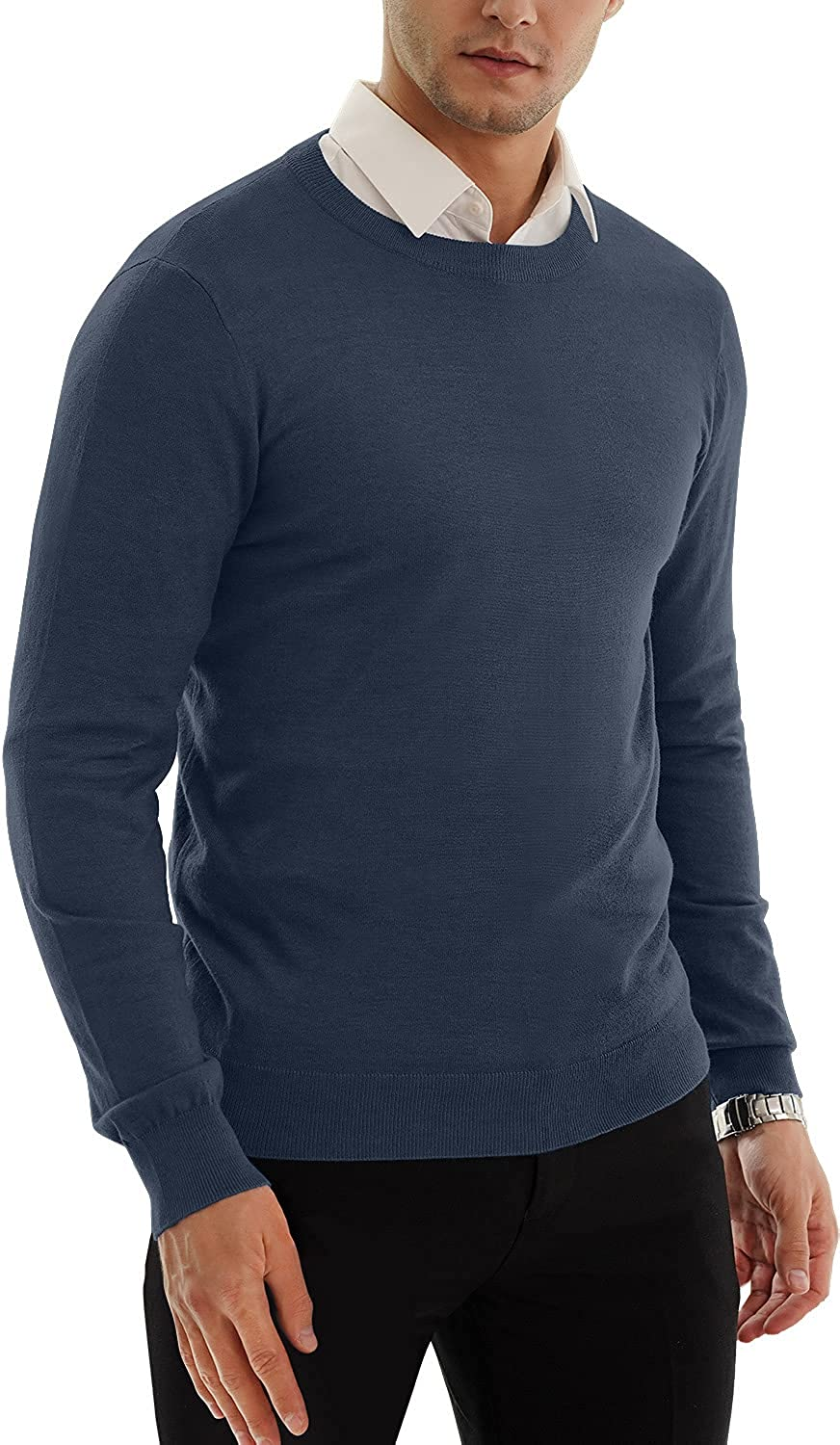 MLANM Men's Sale Casual Slim shipfree Fit Basic Sweaters Sleeve T Knitted Long