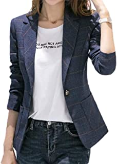 neveraway Women's Work Slim Fitted Plaid Notch Lapel One Button Blazer Jacket Coat