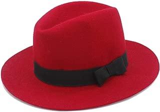 Elegant Women Men Winter Auturmn Cashmere Gangster Fascinator Hat 100% Wool Fedora Hat Wide Brim Floppy Felt Trilby Bowknot Church Hat (Color : Red, Size : 56-58CM)