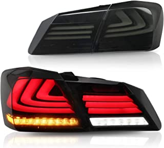 MICROPOWER LED Tail Lightss for Honda Accord 4 Door Sedan 2013 2014 2015, Rear Tail Lamp Assembly with Full LED DRL Bars and Sequential Turn Signals Lights (Smoke)