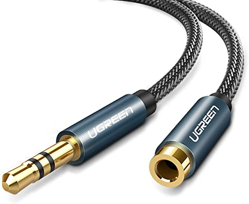 wholesale UGREEN 3.5mm Male to Female Extension popular Stereo Audio Extension Cable Adapter Gold Plated Compatible for iPhone iPad online sale Smartphones Tablets Media Players Blue Nylon Braided 15FT online