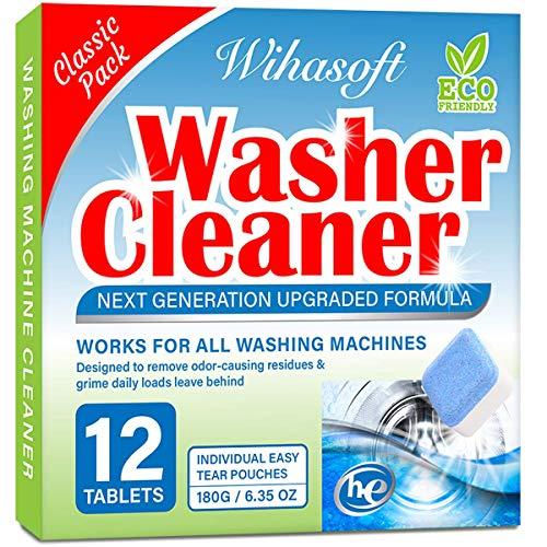 Wihasoft Upgraded Washing Machine Cleaner, Solid Washer Cleaner Deep Cleaning Tablet for Top Loader, Front Loader and HE, Natural Biological Formula, Safe for Septic, 12 Tabs