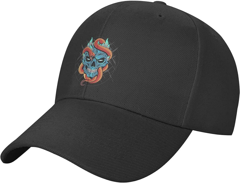Garmnt Cool Skull Baseball Cap Womens Trucker Hat, Unisex Adjustable Snapback Dad Hat Black Men's Baseball Cap Outdoor