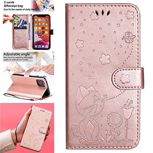 QiuKui Cases LG K8 K10 2017 K40 K41 - Funda de piel con tapa para LG Q60 K50 K51 K61 G7 G8 ThinQ G9 Stylo 4 6 (color: oro rosa, material: para LG G8 ThinQ)