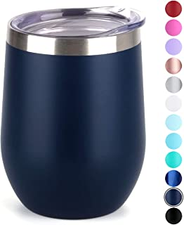 SUNWILL Vaccum Insulated Wine Tumbler with Lid (Navy Blue), Stemless Stainless Steel Insulated Wine Glass 12oz, Double Wall Durable Coffee Mug, for Champaign, Cocktail, Beer, Office use
