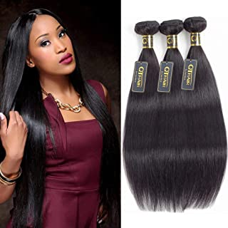 QTHAIR 12A Straight Human Hair Bundles(16 18 20,300g,Natural Black) 100% Unprocessed Human Hair Extensions Indian Straight Virgin Human Hair Bundles