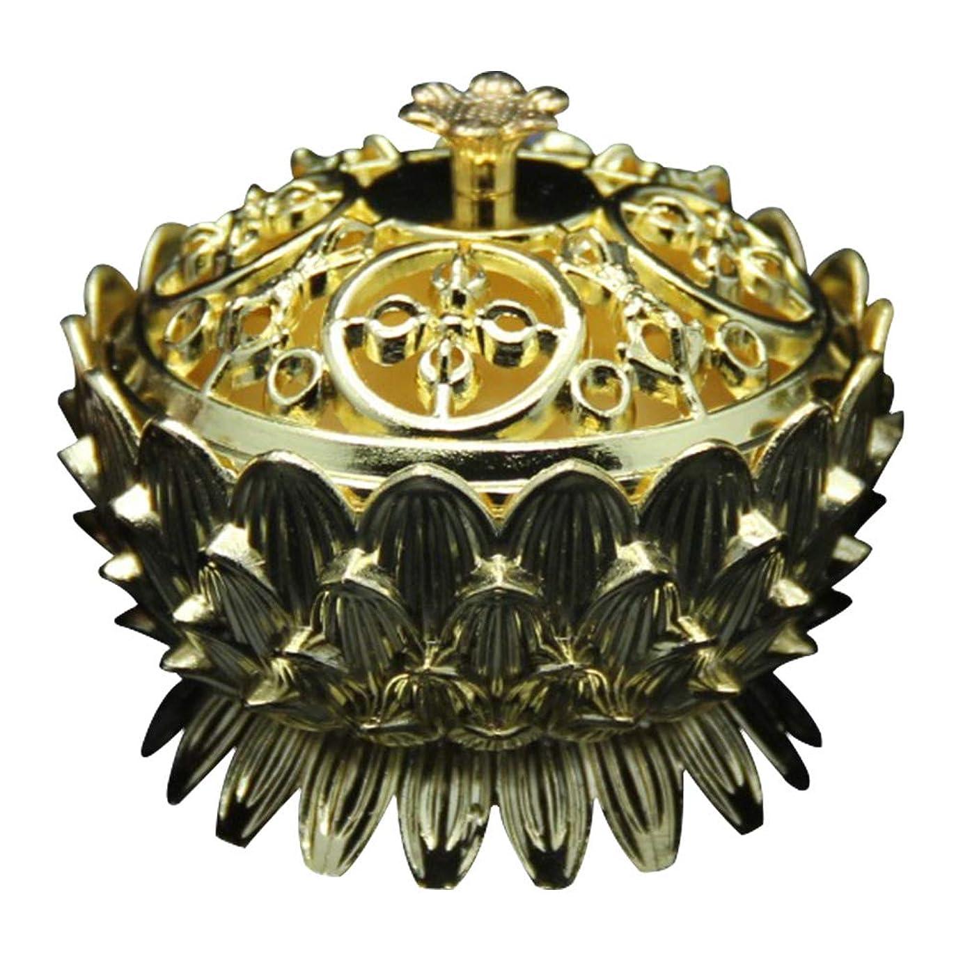 軌道思慮深い疼痛Retro Zinc Copper Alloy Bronze Incense Burner Home Decor Mini Lotus Tibet Incense Burner Holder Fit for Stick Cone Coil Incense(Gold)