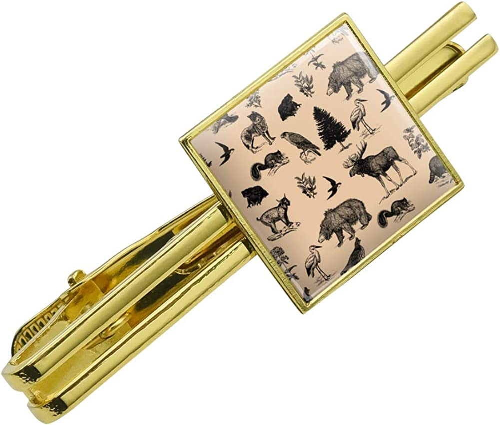 GRAPHICS & MORE Forest Animals Pattern Moose Bear Wolf Raccoon Birds Square Tie Bar Clip Clasp Tack Gold Color