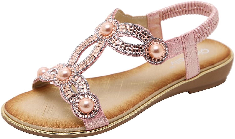 AGOWOO Women's Bling Beaded Flat Strap Walking Beach Sandals