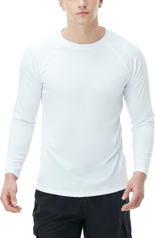 TSLA Men's Rashguard Swim Shirts Max 54% OFF 50+ Opening large release sale Loose-Fit UPF Sleeve Long