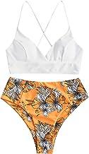ZAFUL Dames Lace-up bikini met bloemenbladeren, hoge taille, badpak