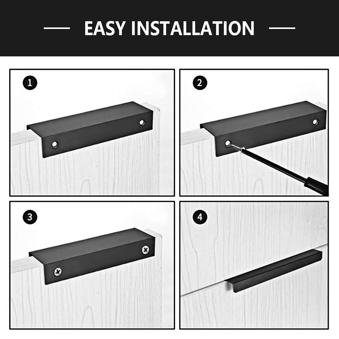 2Pcs LICTOP 80mm//3.15 Black Modern Style Finger Edge Tab Pull Handle Door Knobs Drawer Pulls Aluminum Matte