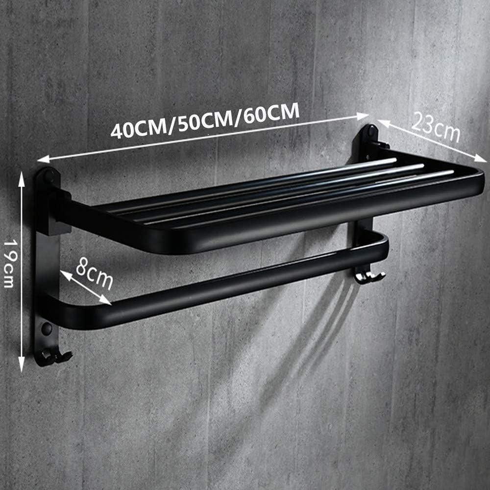 Material De Aluminio Espacial SHUWB Toallero de Pared para ba/ño Negro Mate Doble Toalleros Repisa con Gancho Almacenamiento de Ba/ño 40cm Plegable Autoadhesivo Porta Toallas
