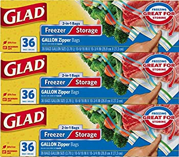 Glad Trash & Food Storage Food Storage and Freezer 2 in 1 Zipper Bags - Gallon Size - 36 Count Each  Pack of 3  Transparent  10602052