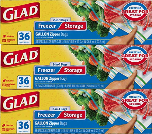 Glad Trash & Food Storage Food Storage and Freezer 2 in 1 Zipper Bags - Gallon Size - 36 Count Each (Pack of 3), Transparent (10602052)