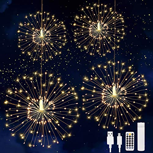 480 LED String Light, 4Pcs USB Rechargeable Battery Operated Hanging Indoor/Outdoor Light, 8 Modes Starburst Fairy Firework Light Remote Control,Waterproof Decorative Light for Party Wedding Christmas