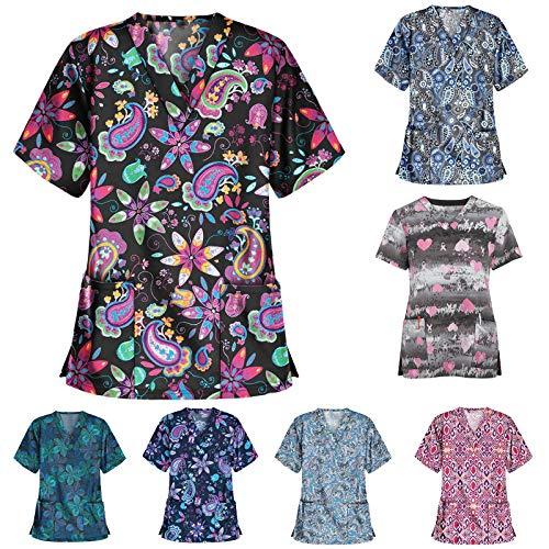 Snakell Kasack Damen Arbeitskleidung Weihnachten Motiv V-Ausschnitt Schlupfkasack Bluse Top Krankenhaus Schlupfjacke Kurzarm Berufsbekleidung für Medizin und Pflege Unisex Uniform