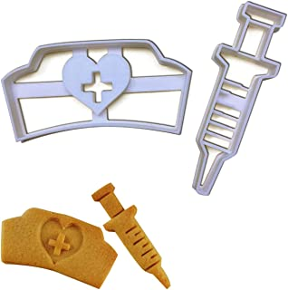 SET of 2 cookie cutters (Nurse Hat and Syringe cookie cutters), 2 pcs, Ideal for Medical themed party or as gifts for Nurses