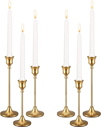 2021 PNAVMG Candle Holders,Set of 6 Candlestick Holders for online sale Taper Candles, Brass Gold Modern Decorative Candle Stick Holder for Table, Mantel, Wedding, Dinning, Housewarming Gift(Candles are lowest not Included) online