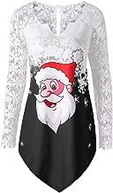 COPPEN Women Christmas Lace Santa Claus Print T-Shirt Tops Blouse