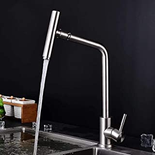Mixer Tap for Kitchen Sink, Single Handle, 304 Stainless Steel, Hot and Cold Water Sink Taps for Kitchen Bathroom Cloakroo...