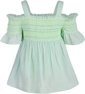 A Little Fable Girls Strappy Shoulder Smocked Cotton top - Mint