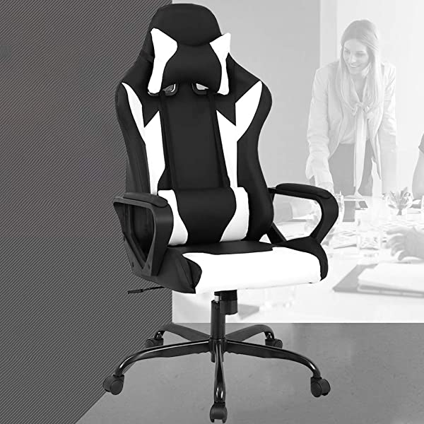 PC Gaming Chair Office Chair Desk Chair With Lumbar Support Arms Headrest High Back PU Leather Racing Chair Rolling Swivel Executive Computer Chair For Women Adults Girls White