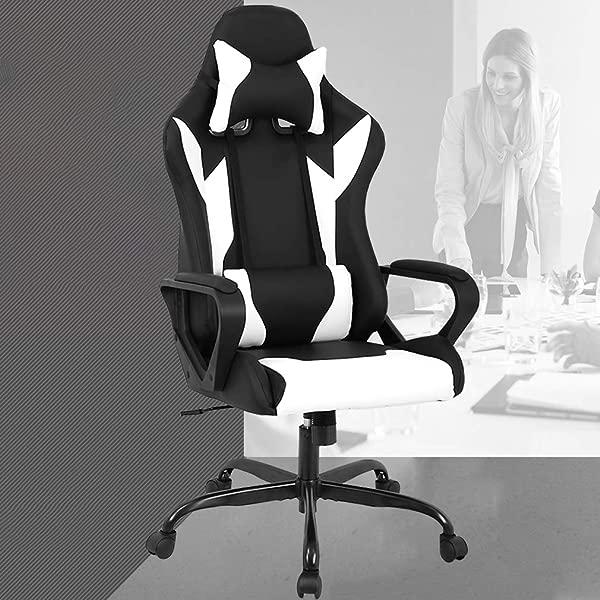 PC 游戏椅办公椅带腰部支撑手臂头枕高背 PU 皮革赛车椅滚动旋转执行电脑椅女士成人女孩白色