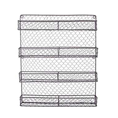 DII Z01445 Vintage Spice Rack Mounted Chicken Wire Organizer for Kitchen Wall, Pantry, Or Cabinet, 16.94  x 2.3  x 19.96 , 4 Tier Spice Rack-Rustic
