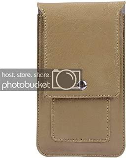 Fashionable Leather Belt Clip Pouch Wallet Purse for Google Pixel 3XL, LG Q7 Plus, Motorola Z3 Play, Huawei P20, P20 PRO (Tan)