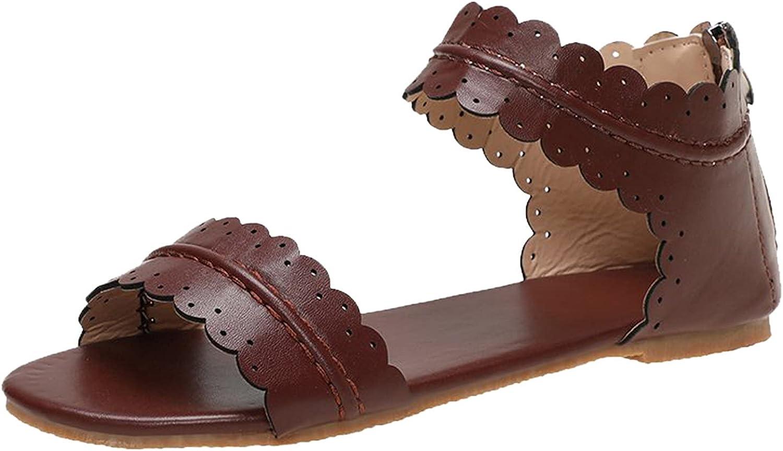 ZiSUGP Women Summer Solid Casual Vintage Lace Open Toe Zipper Flat Sandals Shoes