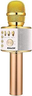 Micrófono Inalámbrico Karaoke Bluetooth, BONAOK 3-en-1 Portátil Karaoke Portátil Mic Regalo de Cumpleaños Equipo de Altavoces para Ffiestas en el Hogar para IOS Android, PC (Dorado Claro)