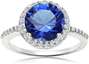 Ice Gems Sterling Silver Simulated Blue Sapphire and Cubic Zirconia Round Halo Ring