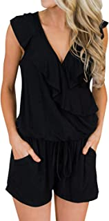 Donnalla Women's Summer Sleeveless V Neck Ruffle Playsuit Rompers with Pockets Shorts Elastic Waist Jumpsuit Rompers