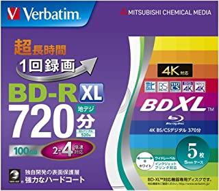 Verbatim バーベイタム 1回録画用 ブルーレイディスク BD-R XL 100GB 5枚 ホワイトプリンタブル 片面3層 2-4倍速 VBR520YP5V2