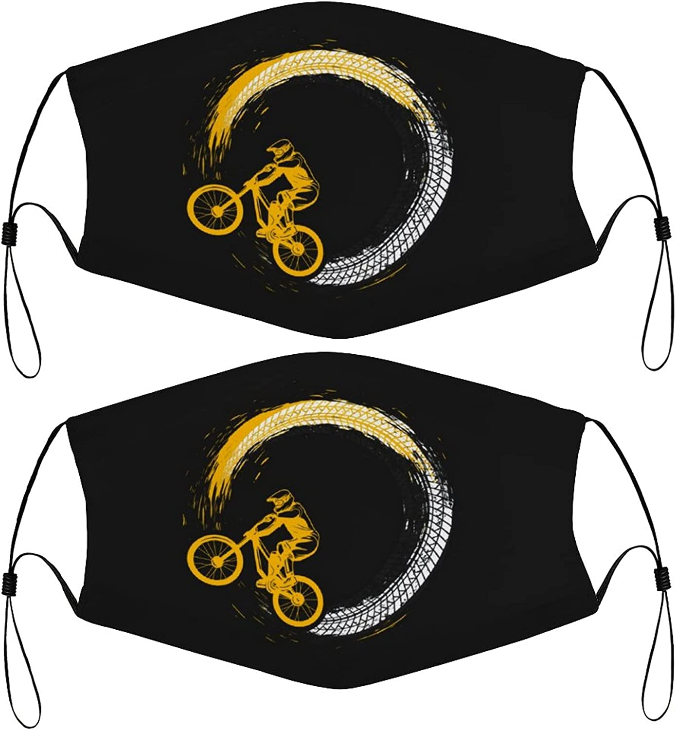 Mountain Bike Cool Kids Face Masks Set of 2 with 4 Filters Washable Reusable Breathable Black Cloth Bandanas Scarf for Unisex Boys Girls