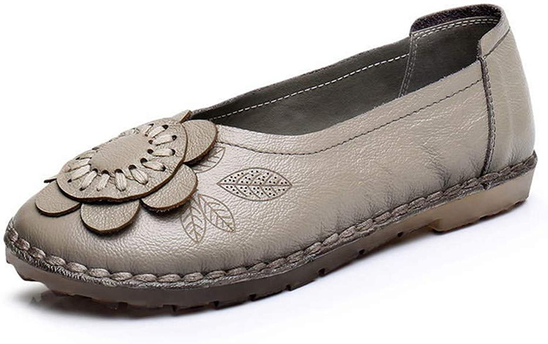Dreamstar Women Flats Fashion Leather Handmade Loafers Flower Women shoes