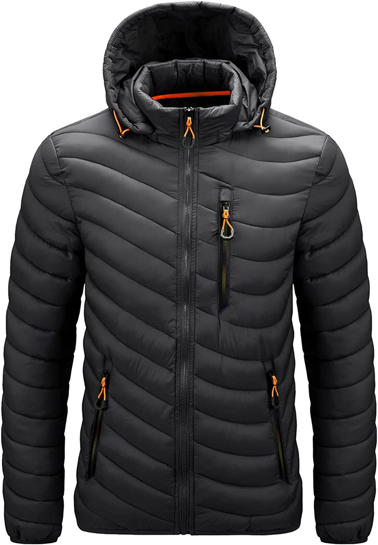 Beshion Men Winter Coat Puffer Hooded Packable Long Sleeve Casual Solid Zipper Pocket Detachable Parkas Warm Jacket