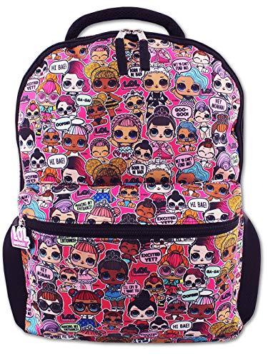 """L.O.L. Surprise! Dolls Girls 16"""" School Backpack (One Size, Black/Pink)"""