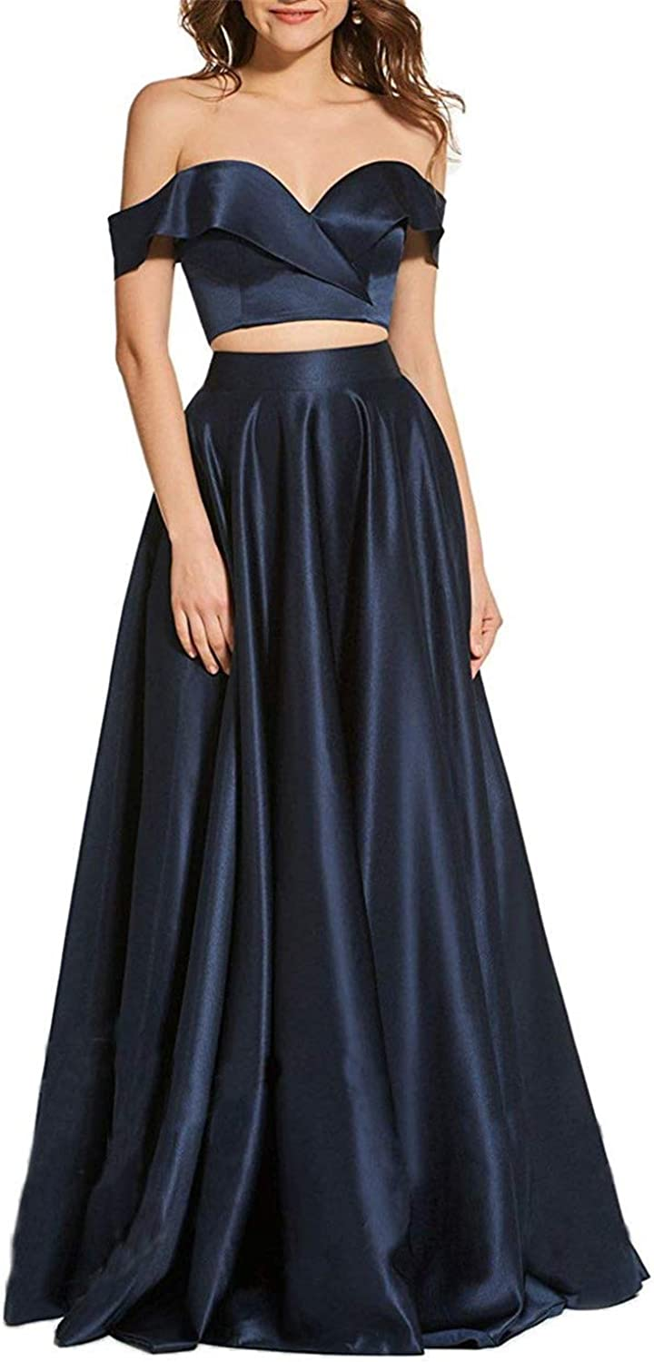 CCBubble Womens Long Satin 2 Pieces Prom Dresses Off Shoulder Formal Evening Party Gown