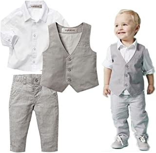 stylesilove Infant Baby Kid Boy Formal Wear Shirt,  Vest and Pants 3-pc