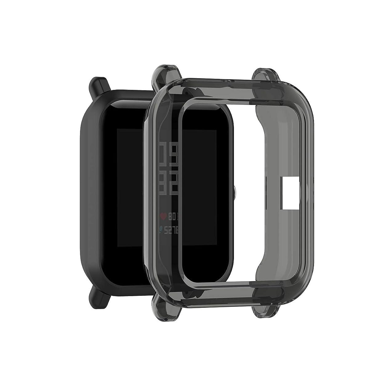 昼間減衰アートXIIHAMA For Amazfit bip/bip lite 通用保護ケース スマートウォッチ 保護カバー TPU材質 柔らかい 防水 プロテクタケース (透明黒)